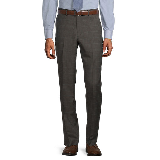 Stafford Super Mens Windowpane Stretch Classic Fit Suit Pants