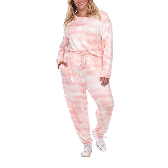 White Mark Womens Plus Long Sleeve Pant Pajama Set 2-pc.