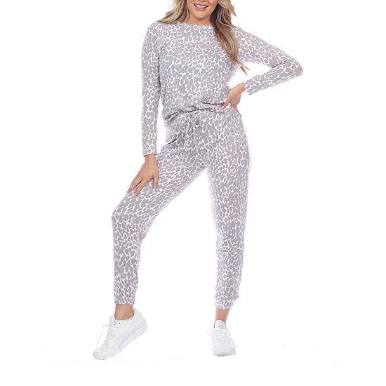 White Mark Womens Long Sleeve Pant Pajama Set 2-pc.