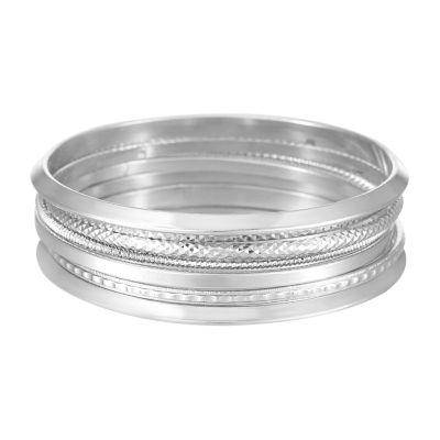 Mixit Silver Tone Solid Bangle Bracelet