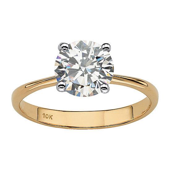 DiamonArt® Womens 2 1/2 CT. T.W. Genuine White Topaz 10K Gold Round Engagement Ring