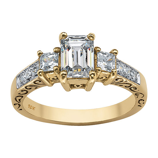 DiamonArt Womens 1 1/4 CT. T.W. White Cubic Zirconia 10K Gold Rectangular Engagement Ring