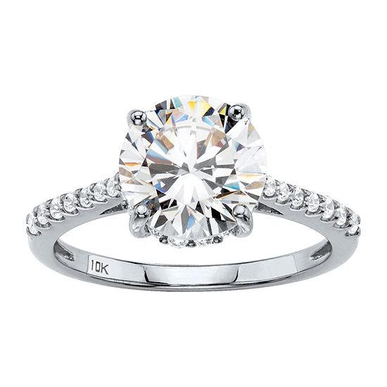 DiamonArt Womens 3 1/4 CT. T.W. White Cubic Zirconia 10K Gold Round Engagement Ring