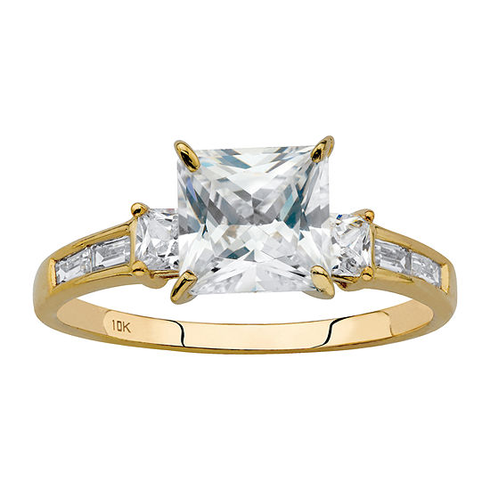 DiamonArt Womens 2 1/5 CT. T.W. White Cubic Zirconia 10K Gold Square Engagement Ring