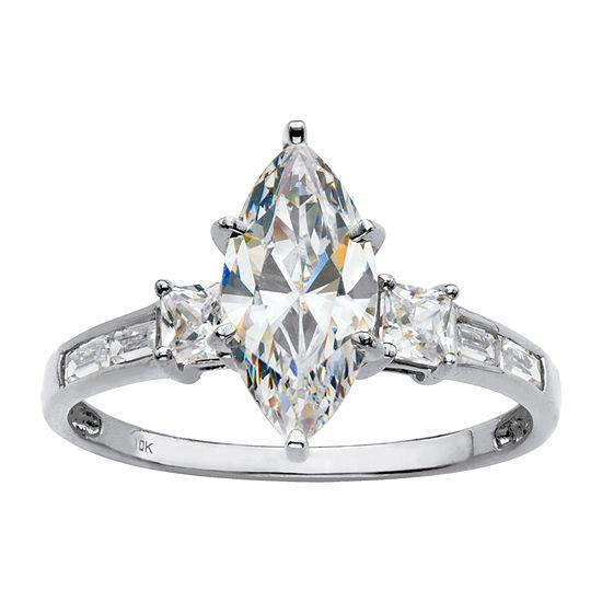 DiamonArt® Womens 2 1/2 CT. T.W. White Cubic Zirconia 10K Gold Diamond Engagement Ring