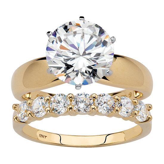 Diamonart Womens 4 1/4 CT. T.W. White Cubic Zirconia 10K Gold Round Bridal Set
