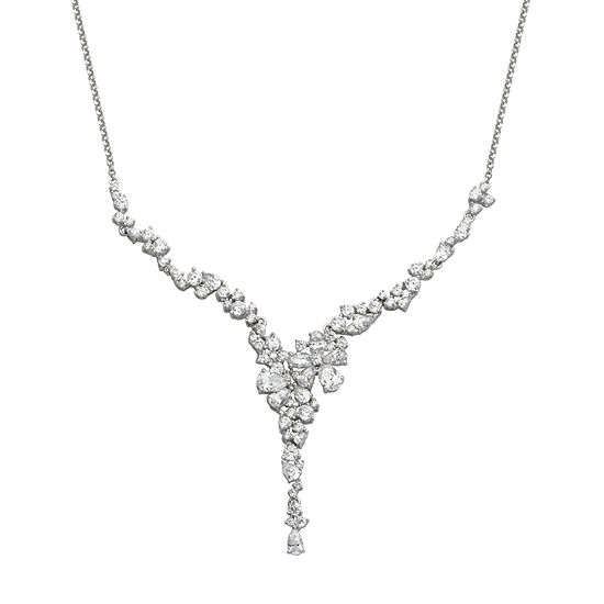 DiamonArt® Womens Cubic Zirconia Sterling Silver Statement Necklace