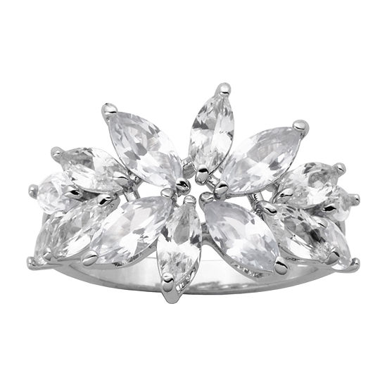 DiamonArt® Womens 5 1/2 CT. T.W. Cubic Zirconia Sterling Silver Flower Cocktail Ring