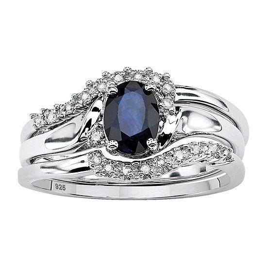 DiamonArt Womens 1 1/10 CT. T.W.  Genuine Blue Sapphire Platinum Over Silver Oval Bridal Set