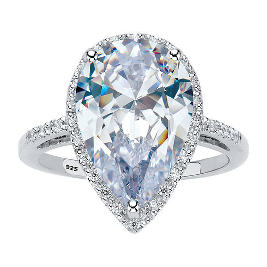 DiamonArt Womens 6 CT. T.W. White Cubic Zirconia Platinum Over Silver Pear Engagement Ring