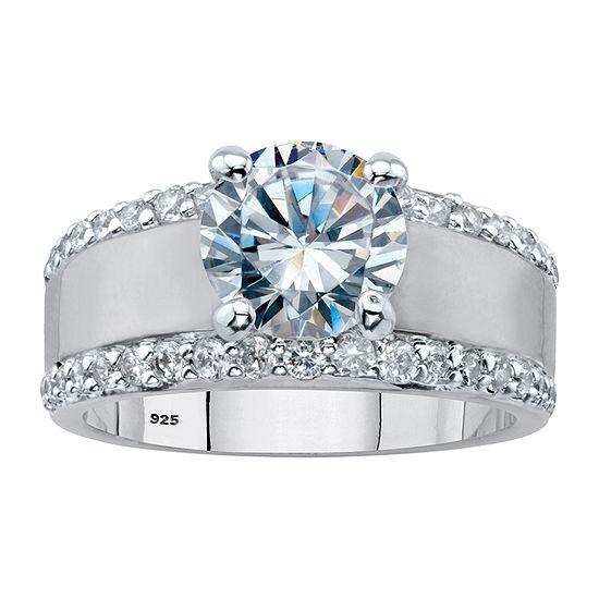 DiamonArt Womens 3 1/4 CT. T.W. White Cubic Zirconia Platinum Over Silver Round Engagement Ring