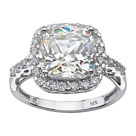 DiamonArt Womens 3 CT. T.W. Lab Created White Sapphire Platinum Over Silver Square Engagement Ring