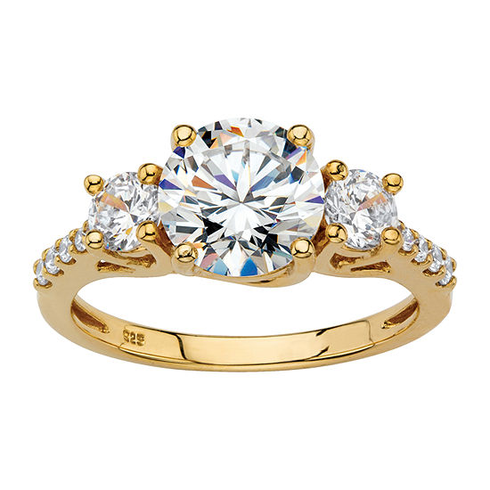 DiamonArt Womens 2 1/2 CT. T.W. White Cubic Zirconia 18K Gold Over Silver Round Engagement Ring