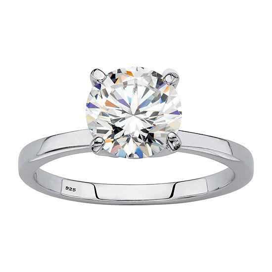 DiamonArt Womens 1 7/8 CT. T.W. Lab Created White Sapphire Platinum Over Silver Round Engagement Ring