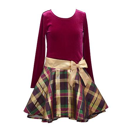 1920s Children Fashions: Girls, Boys, Baby Costumes Bonnie Jean Big Girls Long Sleeve Party Dress 14.5 Plus  Purple $25.89 AT vintagedancer.com