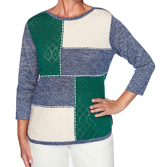 Alfred Dunner Hunter Mountain Womens Crew Neck 3/4 Sleeve Pullover Sweater
