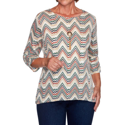 Alfred Dunner Hunter Mountain Womens Round Neck 3/4 Sleeve Knit Blouse