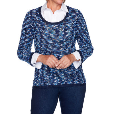 Alfred Dunner Hunter Mountain Womens Long Sleeve Layered Sweaters