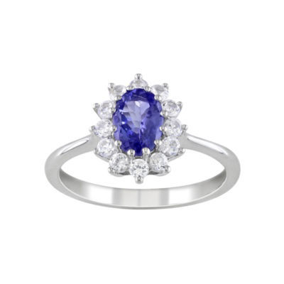 Genuine Tanzanite & Lab-Created White Sapphire Starburst Ring