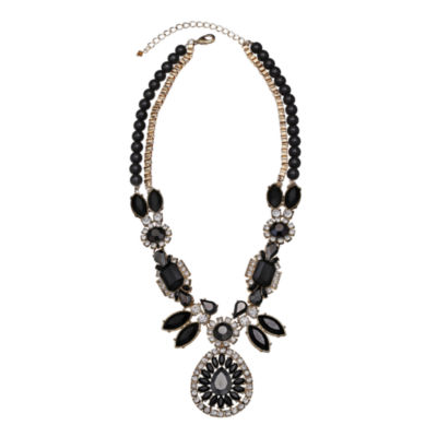 Mixit™ Black Stone & Crystal Statement Y Necklace