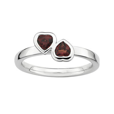 Personally Stackable Genuine Garnet Sterling Silver Double-Heart Ring