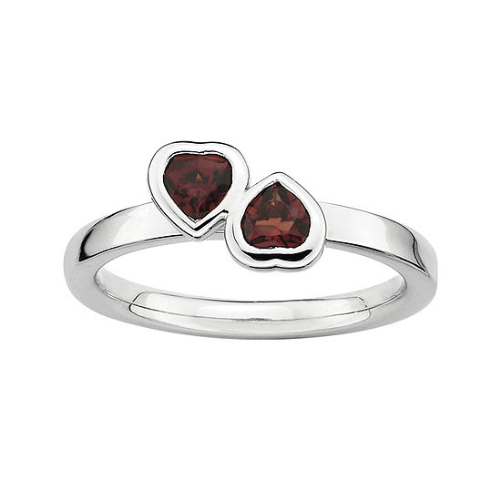Personally Stackable Genuine Garnet Sterling Silver Double Heart Ring