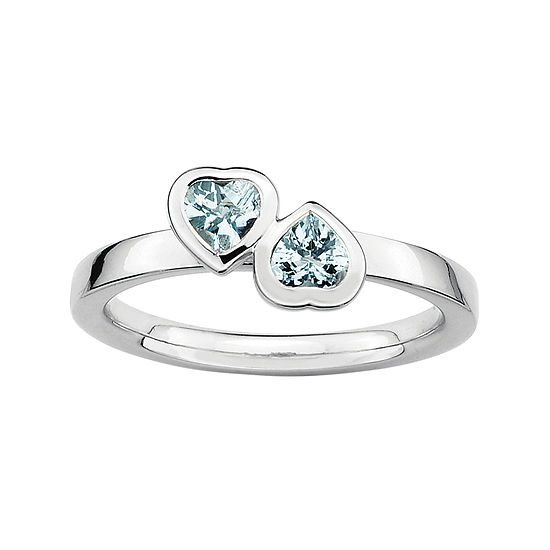 Personally Stackable Genuine Aquamarine Sterling Silver Double-Heart Ring