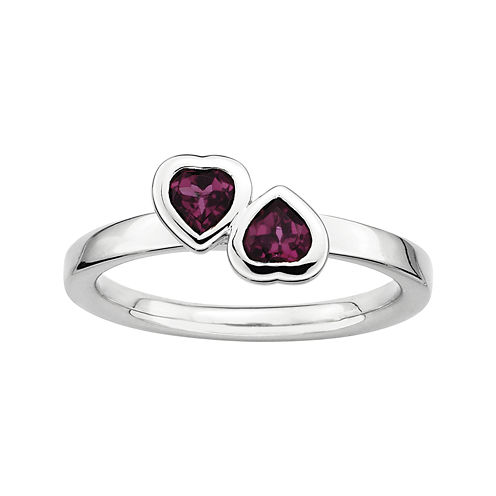 Personally Stackable Genuine Rhodolite Sterling Silver Heart RIng