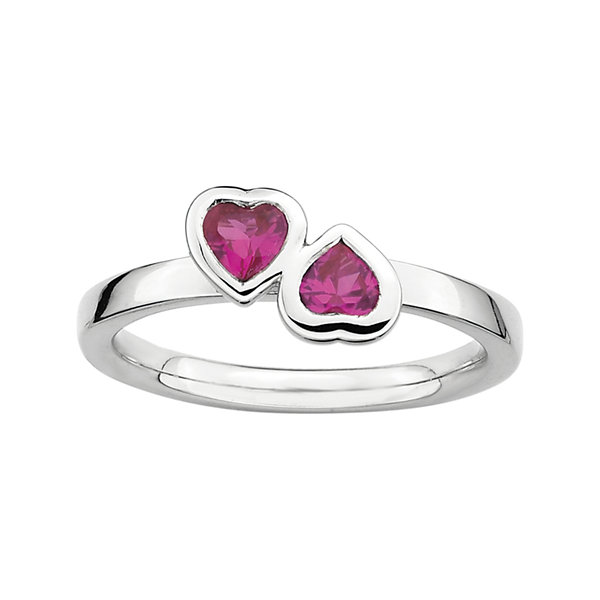 Personally Stackable Lab-Created Ruby Sterling Silver Double-Heart Ring