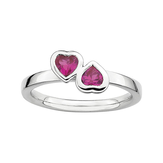 Personally Stackable Lab Created Ruby Sterling Silver Double Heart Ring