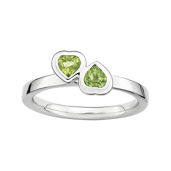 Personally Stackable Genuine Peridot Sterling Silver Double-Heart Ring