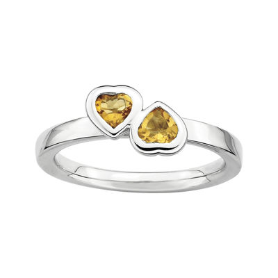 Personally Stackable Genuine Citrine Sterling Silver Double-Heart Ring