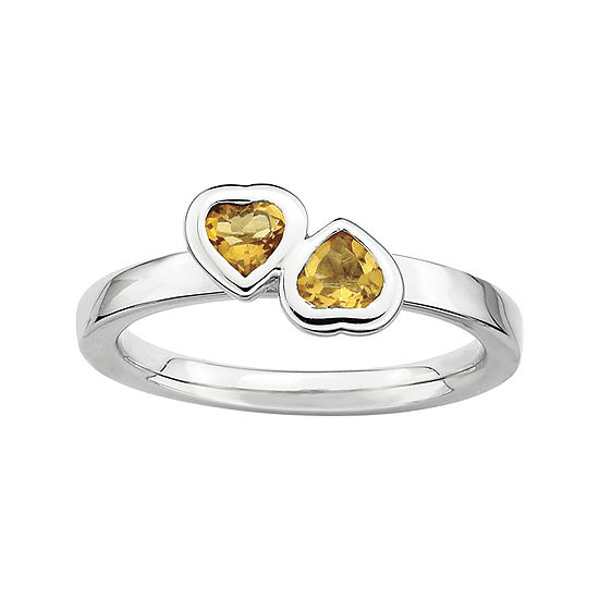 Personally Stackable Genuine Citrine Sterling Silver Double Heart Ring