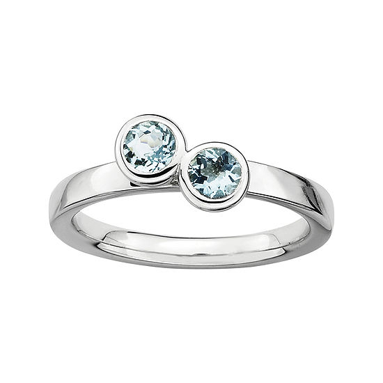 Personally Stackable Sterling Silver Double Genuine Aquamarine Ring