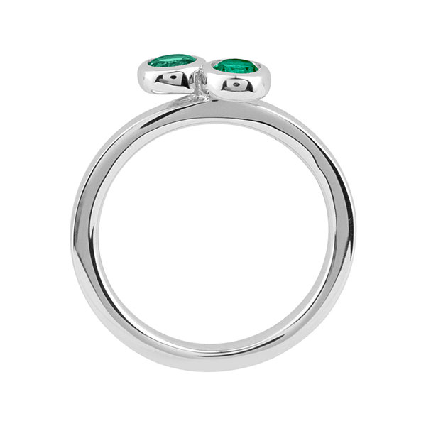 Personally Stackable Sterling Silver Double Lab-Created Emerald Ring