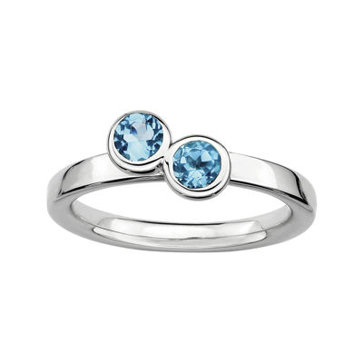 Personally Stackable Double Genuine Blue Topaz Ring