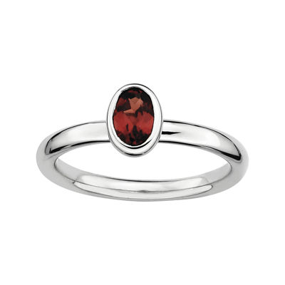 Personally Stackable Oval Genuine Garnet Ring