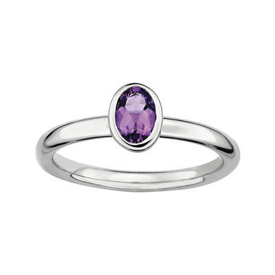 Personally Stackable Oval Genuine Amethyst Ring