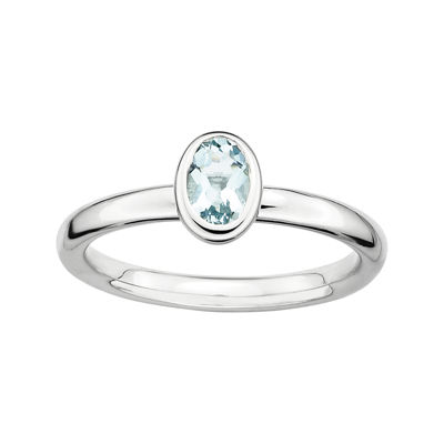Personally Stackable Oval Genuine Aquamarine Ring
