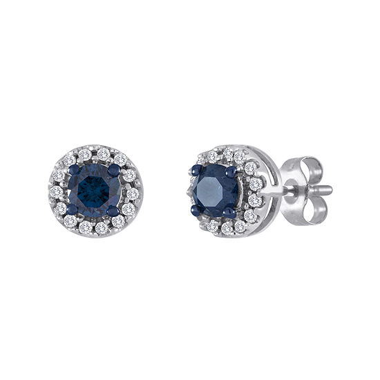 1/2 CT. T.W. White and Color-Enhanced Blue Diamond Stud Earrings