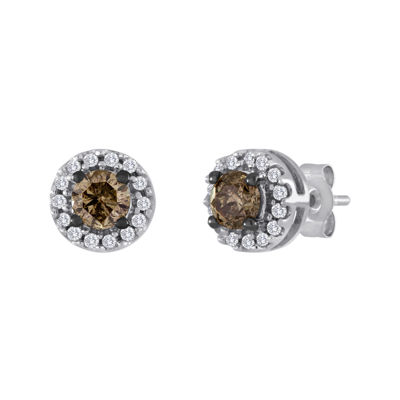 1/2 CT. T.W. White and Champagne Diamond Stud Earrings