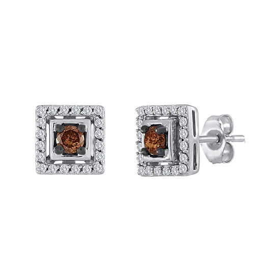 1 2 Ct Tw White And Champagne Diamond Square Earrings
