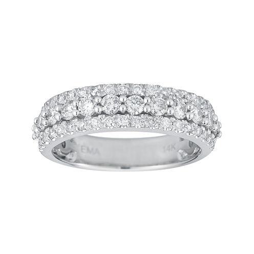 1 CT. T.W. Certified Diamond 14K White Gold Triple-Row Band