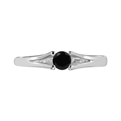 Womens Black Onyx Sterling Silver Solitaire Ring