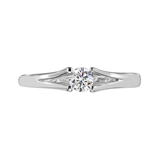 Womens Lab Created White Sapphire Sterling Silver Solitaire Cocktail Ring