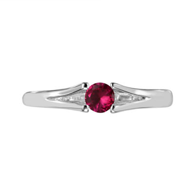 Womens Lab Created Ruby Sterling Silver Solitaire Ring