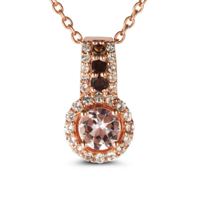 Womens Genuine Pink Morganite 14K Gold Over Silver Pendant Necklace