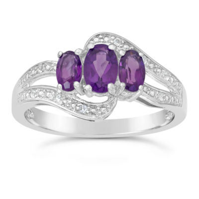 Womens Genuine Purple Amethyst Sterling Silver 3-Stone Ring