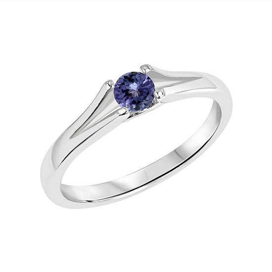 Womens Genuine Purple Tanzanite Sterling Silver Solitaire Cocktail Ring