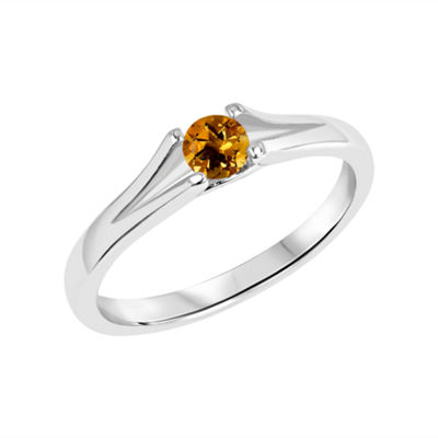 Womens Genuine Yellow Citrine Heart Solitaire Cocktail Ring